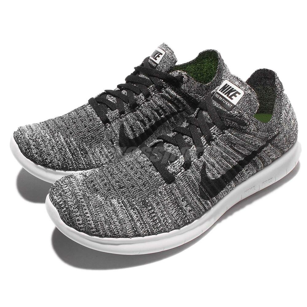 wmns nike free rn flyknit run oreo black white women. Black Bedroom Furniture Sets. Home Design Ideas