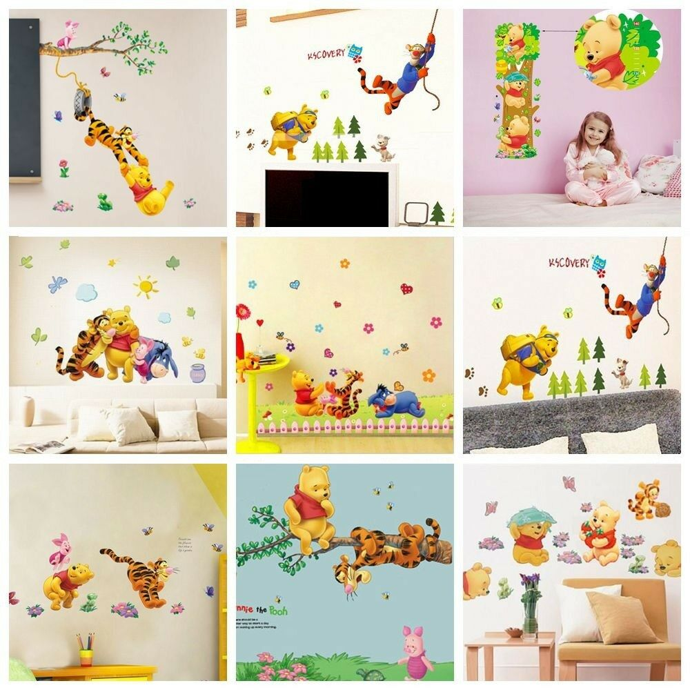 Winnie the pooh wall stickers nursery kids bedroom for Childrens wall mural stickers