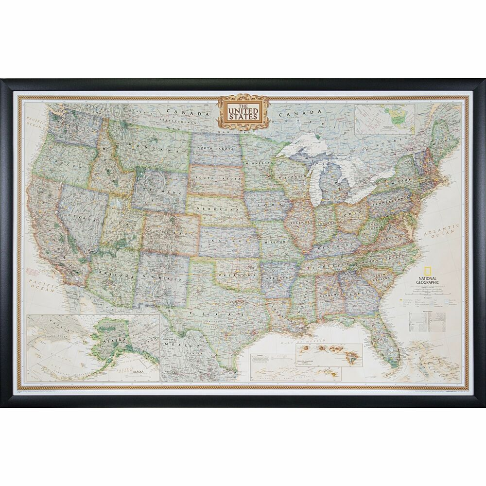 Craig Frames Executive United States Push Pin Travel Map with Pins ...
