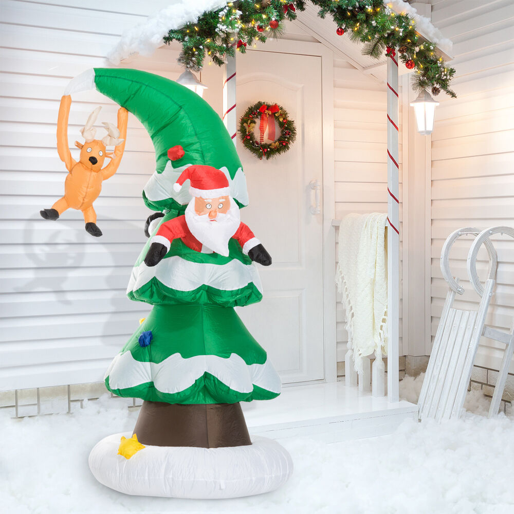 Santa Claus Lawn Decorations: 7' Inflatable LED Lit Santa Claus Stuck In Christmas Tree