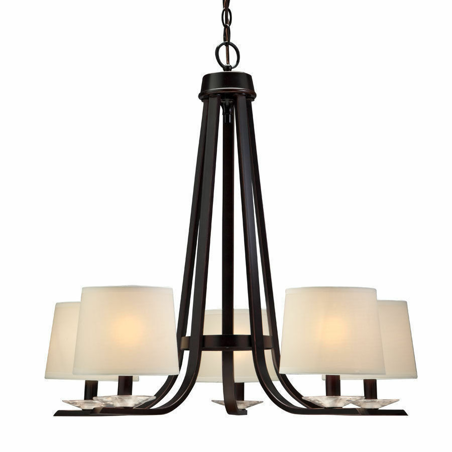Oil Rubbed Bronze 5 Light Chandelier With Shades EBay