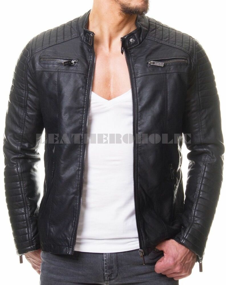 MENS VINTAGE BLACK GENUINE LEATHER JACKET SLIM FIT REAL ...