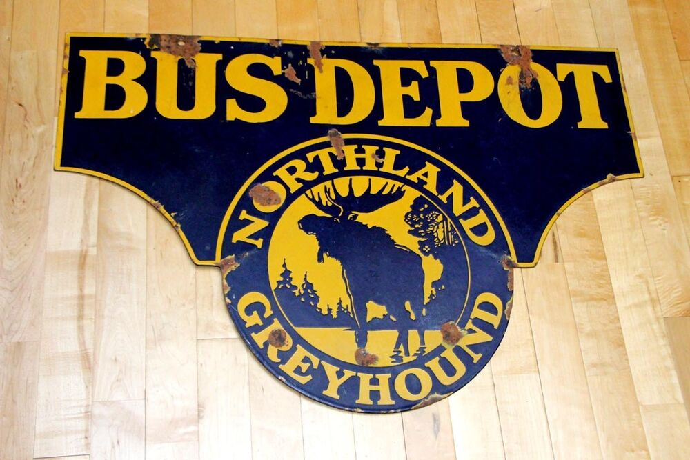 1920s Northland Greyhound Bus Porcelain Sign See My Other Neon