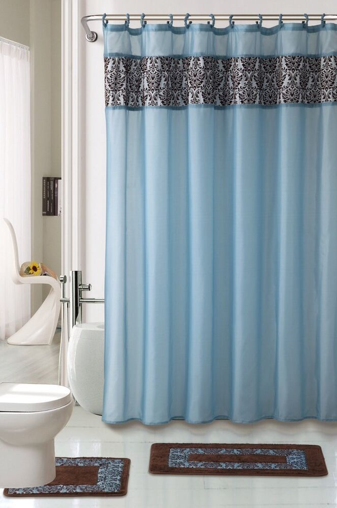 Bath Rug Set Walmart: 4pc BATHROOM Rugs Set MAJESTIC BLUE Bath Rug Fabric Shower
