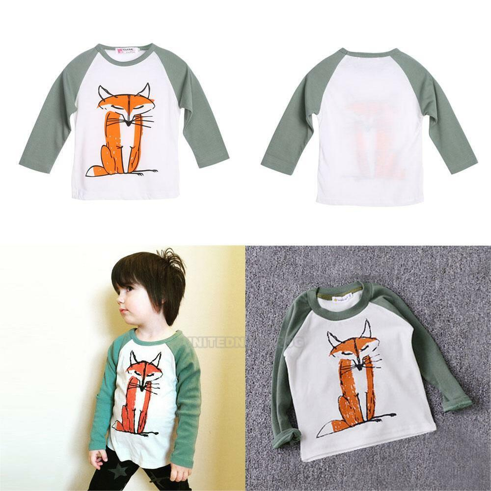 Toddler Kids Baby Boys Fox Print T Shirt Long Sleeve Tops