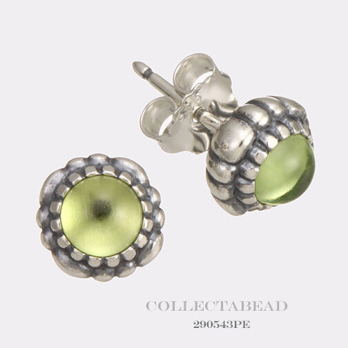 Pandora Silver Stud Earrings: Authentic Pandora Silver August Peridot Birthstone Stud