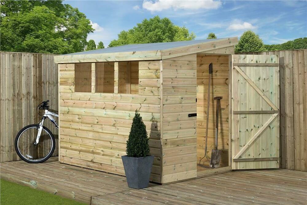 7x4 garden shed shiplap pent tanalised 3 low windows door
