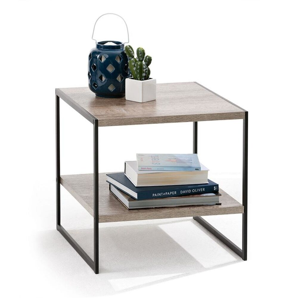 Modern Stylish 2 Tier Industrial Side Table Living Lounge Bookshelf Storage eBay