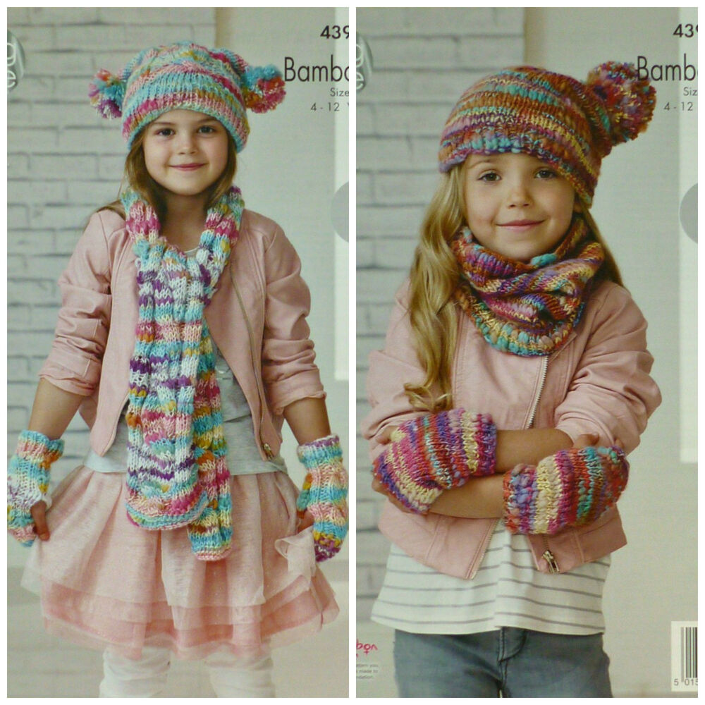 KNITTING PATTERN Girls Easy Knit Scarf, Cowl Mitts and Hat ...