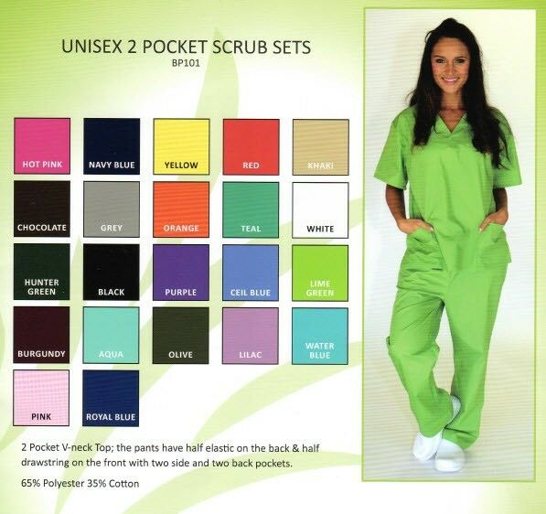Medical Nursing Scrub Set Natural Uniforms Unisex Top
