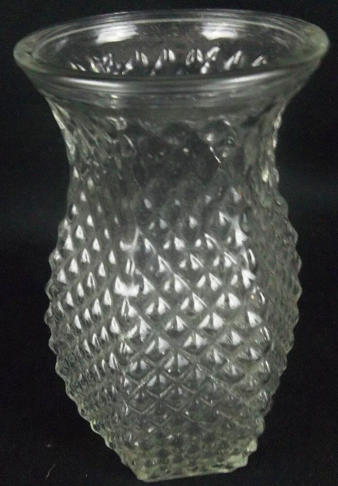 4071 Hoosier Glass Vase Clear Diamond Cut Glass Hobnail