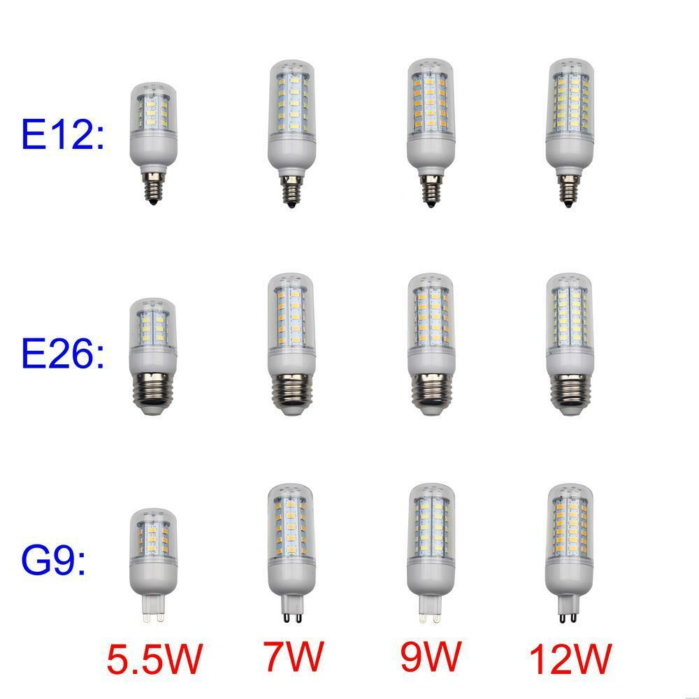 E12 E26 G9 110V LED Corn Light Bulb Lamp 5W 7W 9W 12W Warm ...