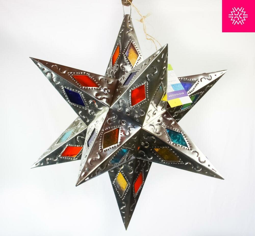 Stained Glass Moravian Star Punched Pierced Metal Tin Light Fixture Pendant Lamp Ebay