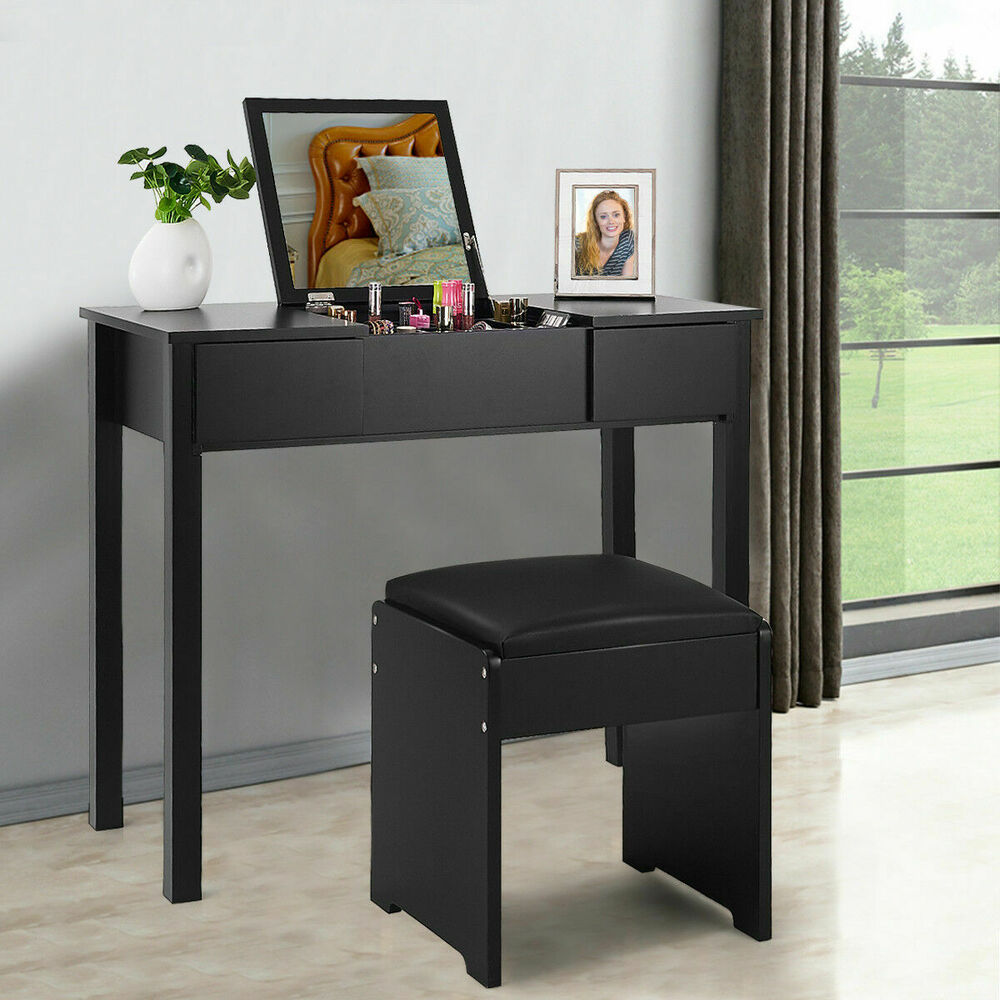Black vanity dressing table set mirrored bedroom furniture for Bedroom dressing table