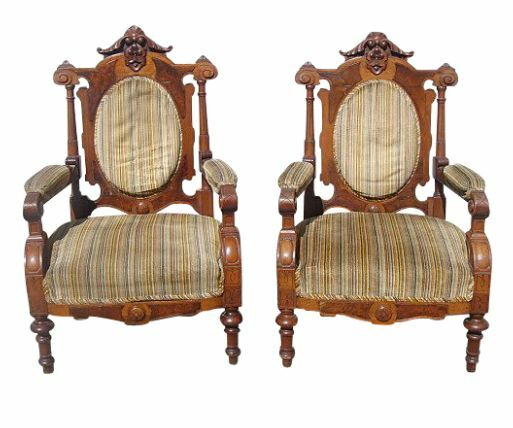 antique furniture pair of carved victorian chairs