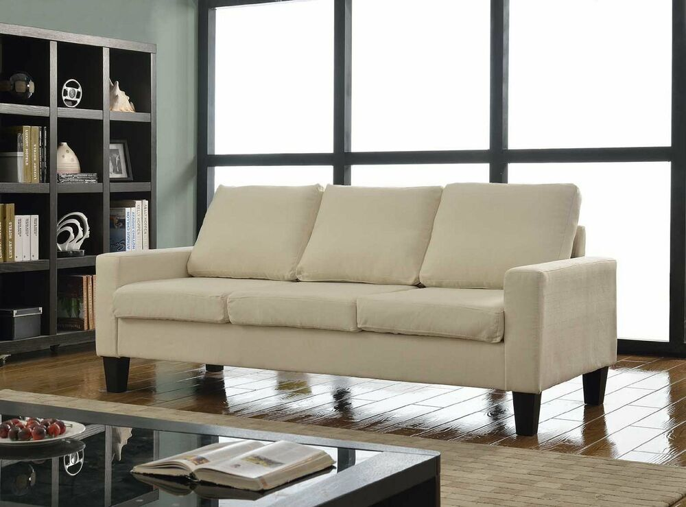 Beige fabric upholstered sofa lounge living room modern for Living room furniture 0 finance