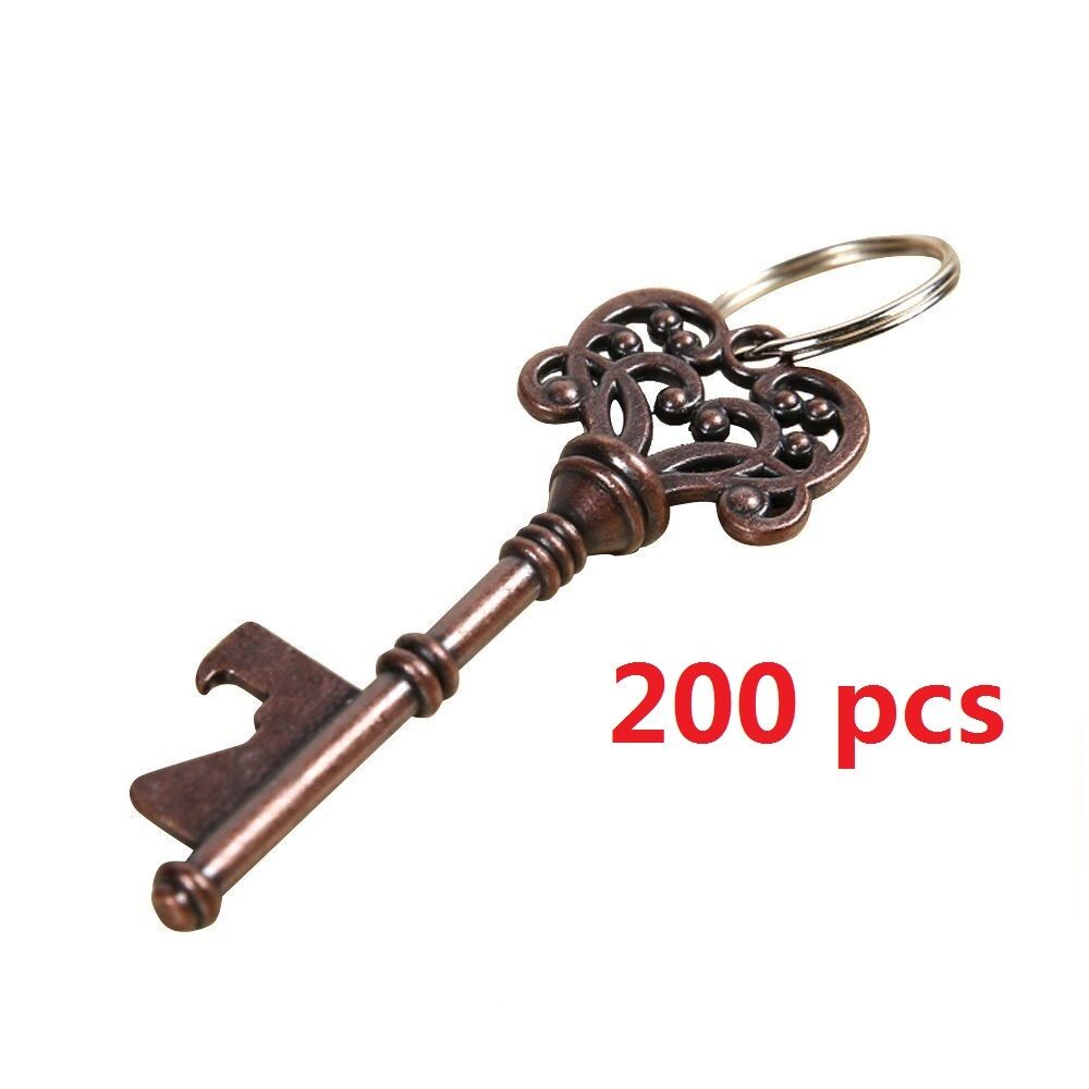 200pcs vintage skeleton key bottle opener barware bridal wedding favor keychain ebay. Black Bedroom Furniture Sets. Home Design Ideas