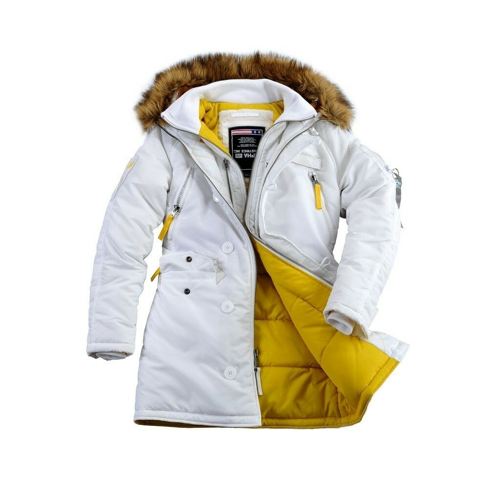 alpha industries damenparka pps n3b wmn white 133003 wei e winterjacke ebay. Black Bedroom Furniture Sets. Home Design Ideas