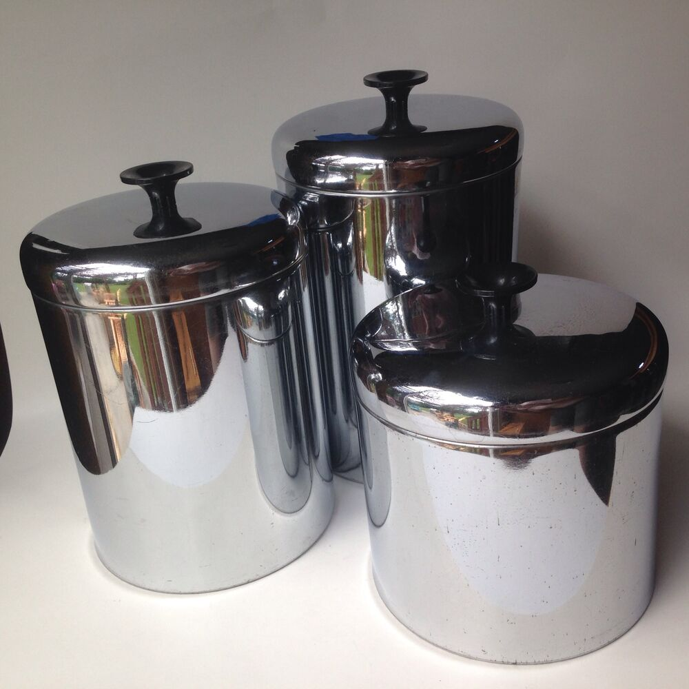 canisters for the kitchen vintage pantry queen set of 3 stainless canisters 1950 s