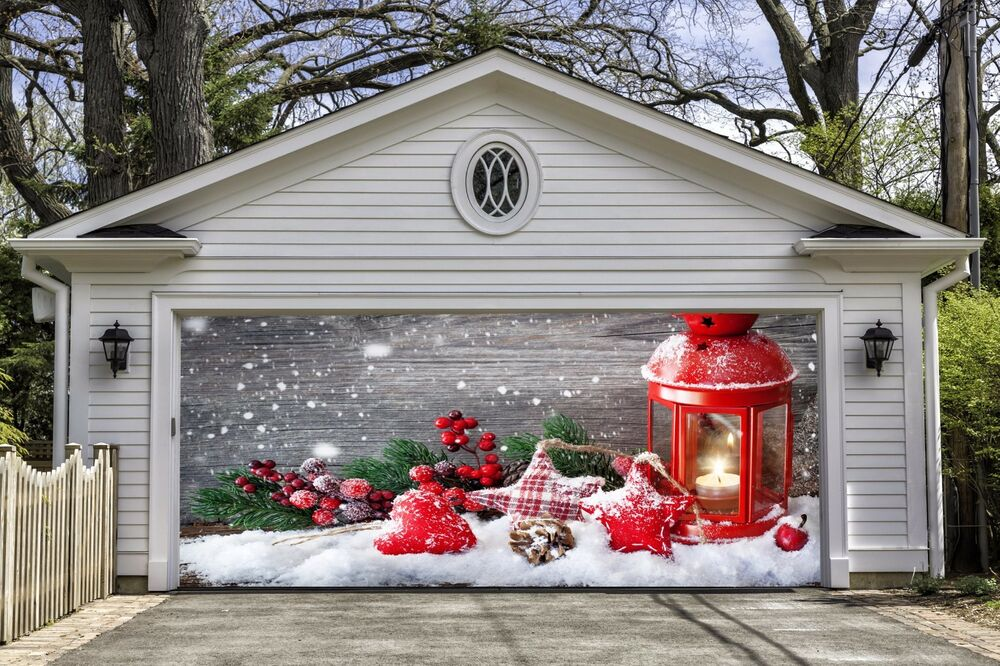 Christmas garage door covers banners outside house for Christmas garage door mural