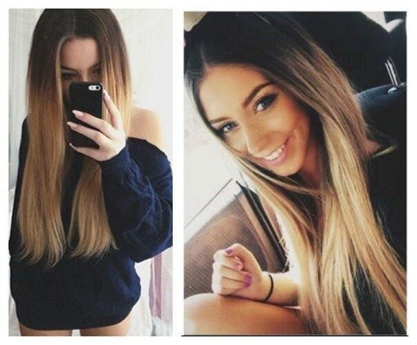 Clip in ombr hair extensions ebay 6pcs pack full head straight balayage ombre clip in hair extensions brown blonde pmusecretfo Choice Image
