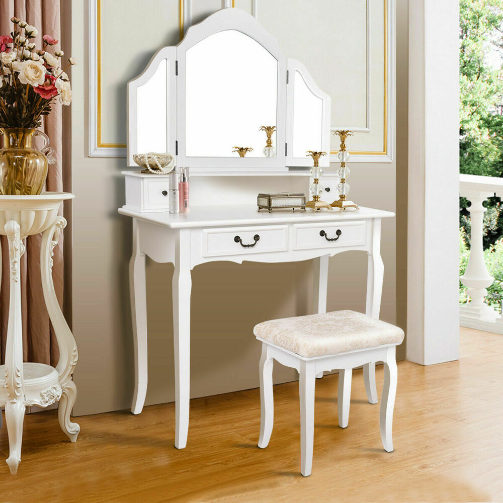 white tri folding mirror vanity makeup table set bedroom w