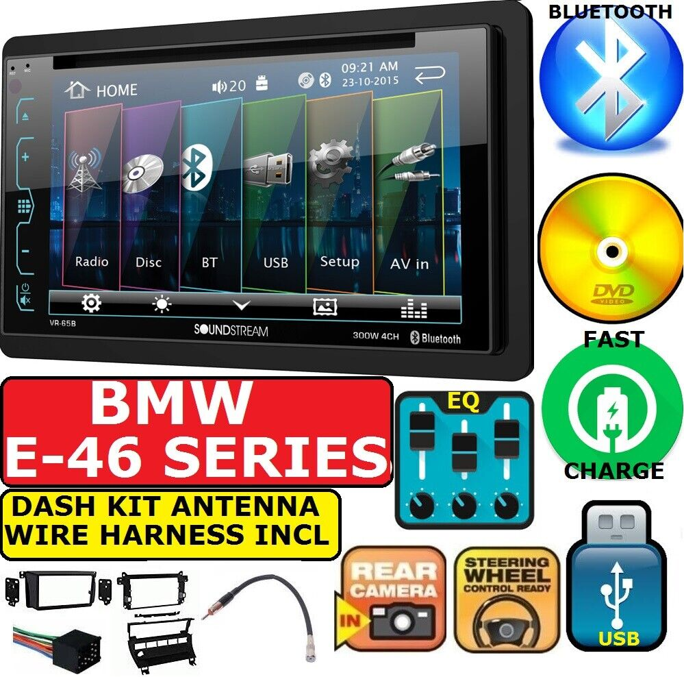 bmw e46 bluetooth dvd usb double din car stereo radio dash. Black Bedroom Furniture Sets. Home Design Ideas