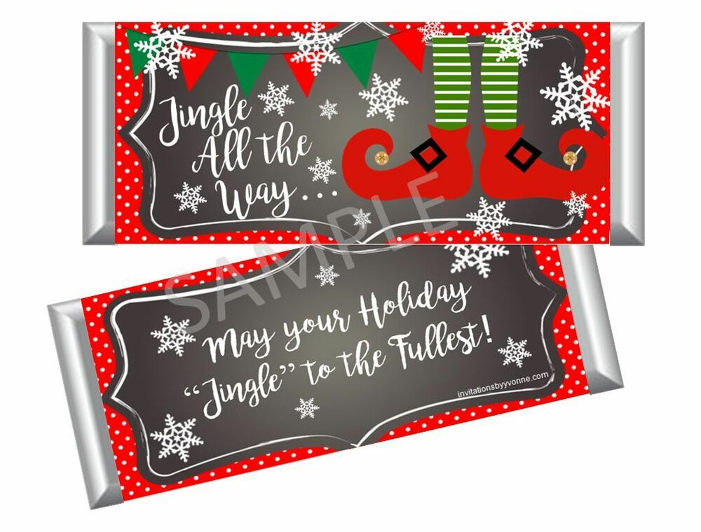 Christmas Elf Candy Bar Wrappers Xmas Holiday Party
