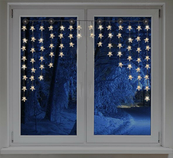 90 led lichterkette schneeflocken lichtervorhang lichtschlauch weihnachten deko ebay. Black Bedroom Furniture Sets. Home Design Ideas