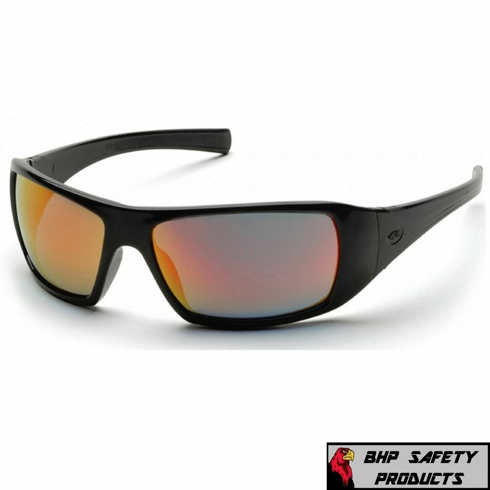 e2eb4806319 Details about PYRAMEX GOLIATH SAFETY GLASSES BLACK ICE ORANGE MIRROR LENS  SUNGLASSES Z87.1