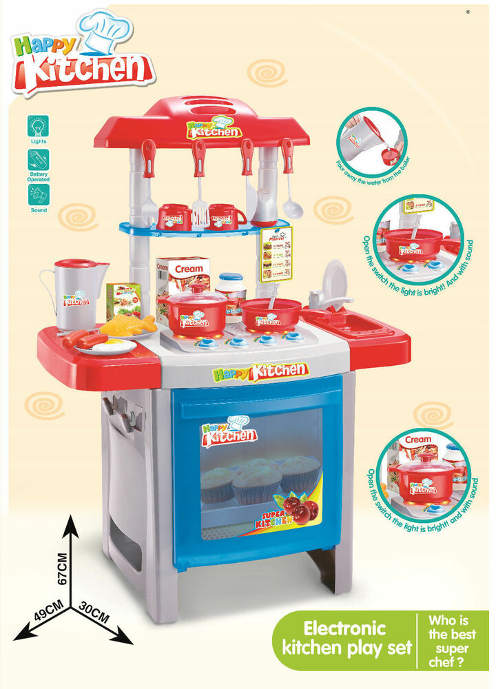 Large childrens kids kitchen cooking role play pretend toy for Kitchen set game