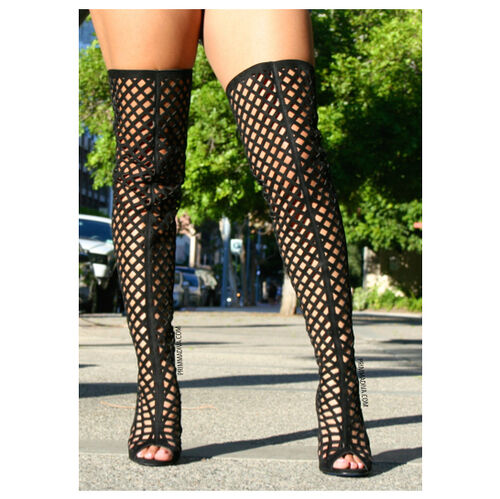 black caged thigh high boots open toe high heels lace