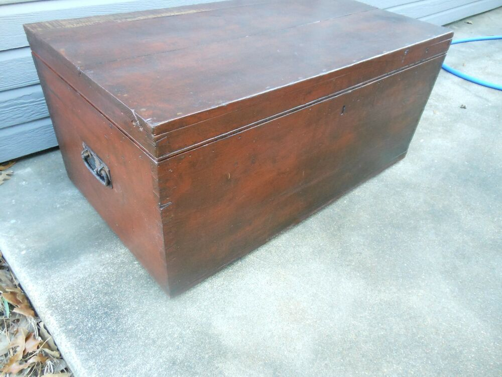 Unique Older Pine Dovetailed Corners Chest Trunk Coffee Table From Scotland Ebay