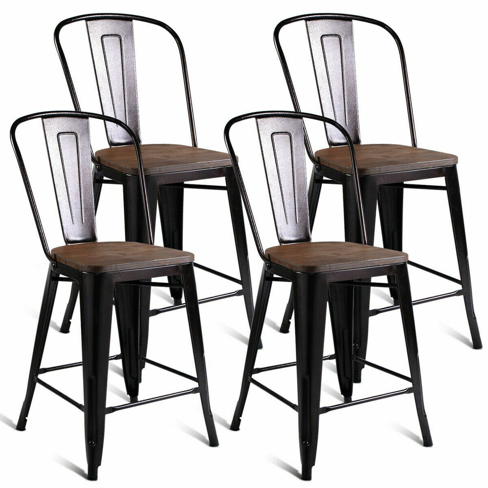 Copper Set Of 4 Metal Wood Counter Stool Kitchen Dining Bar Chairs Rustic New Ebay