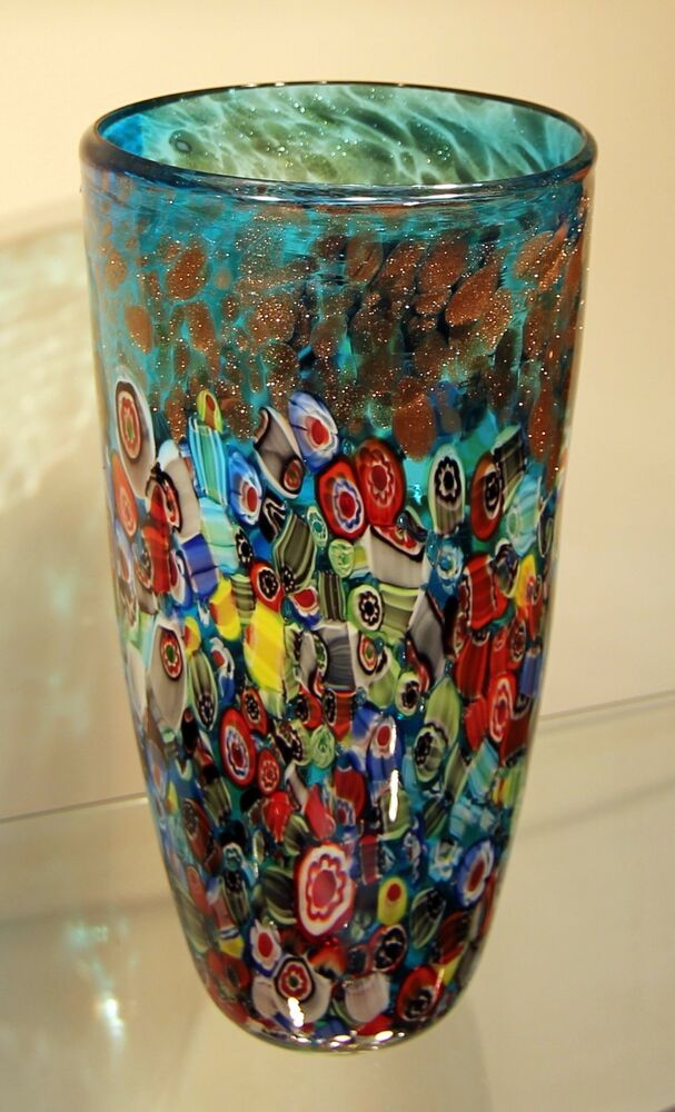 New 12 Quot Hand Blown Glass Art Vase Blue Italian Millefiori