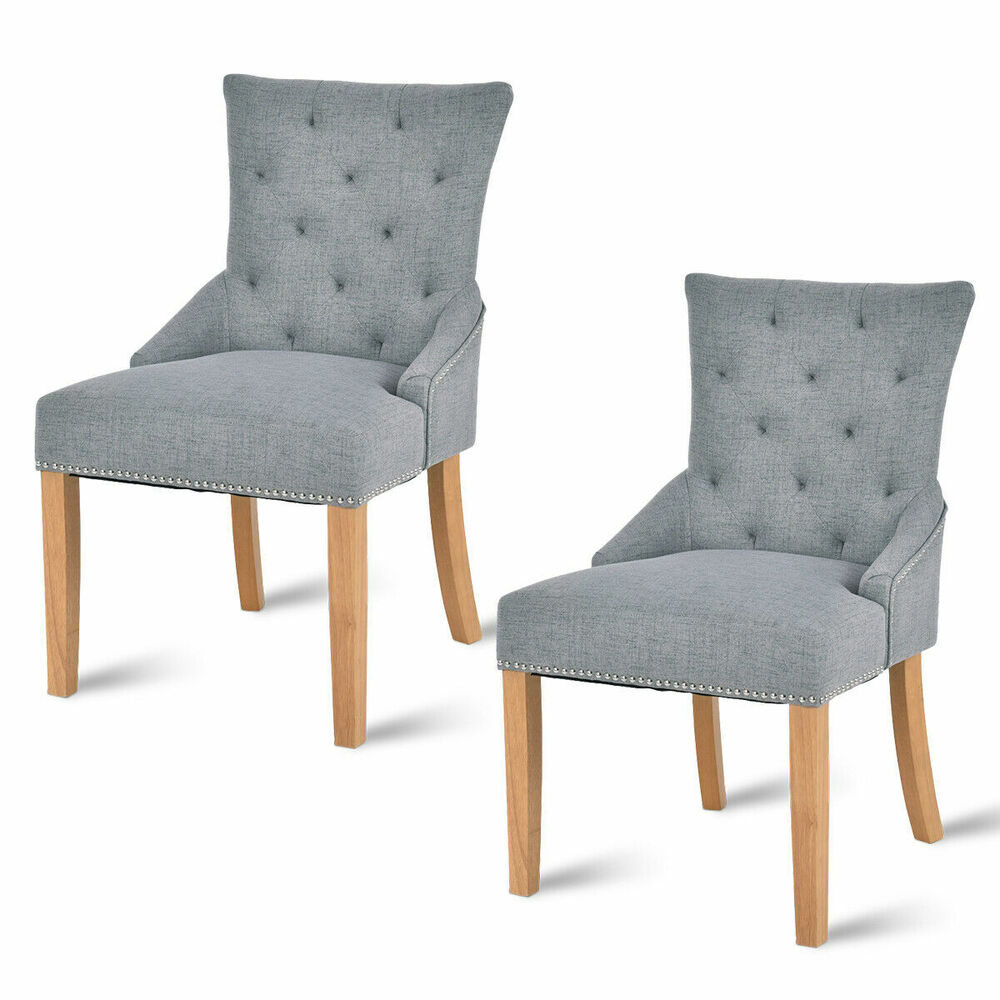 Set Of 2 Armless Dining Chairs Elegant Tufted Design
