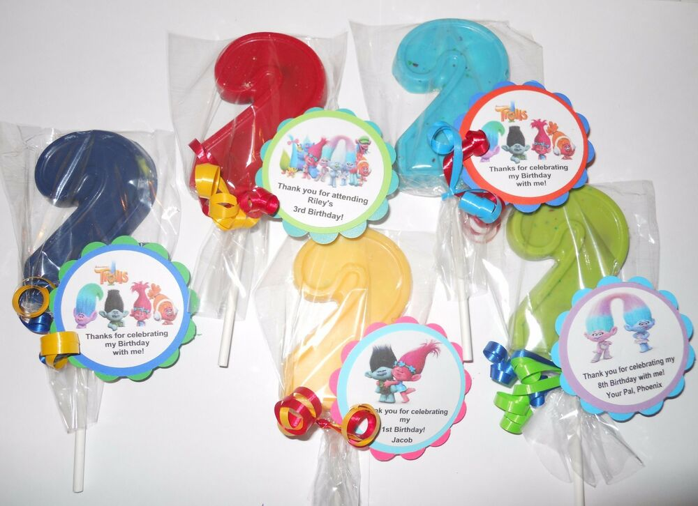 Details About 12 Dreamworks Trolls Themed Gourmet 2nd Birthday Party Favors With Custom Tags