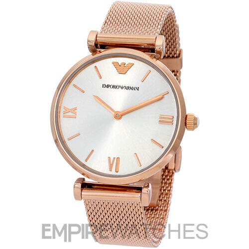 *NEW* EMPORIO ARMANI LADIES RETRO ROSE GOLD MESH WATCH ...