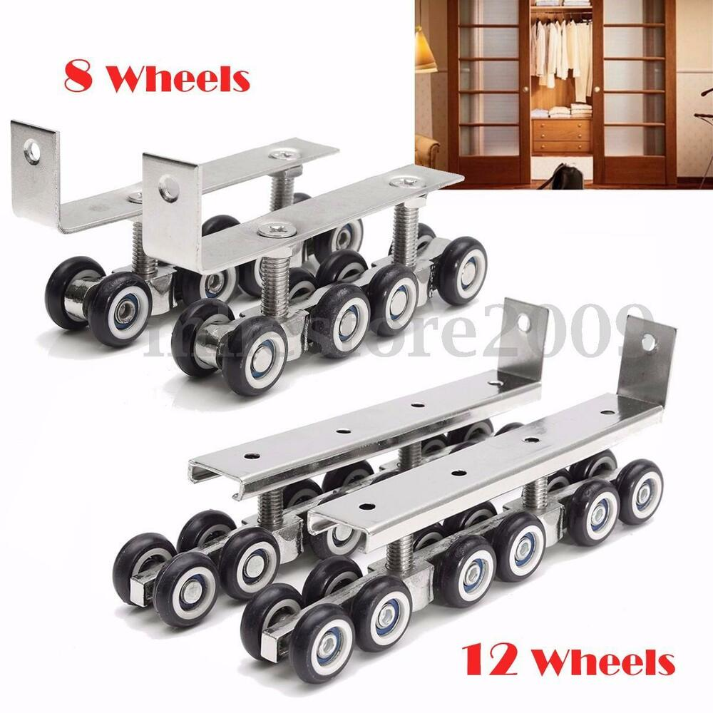 2x Sliding Wooden Door Roller Hanging Wheels Closet