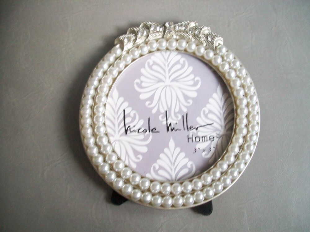 nicole miller picture frame nwt 3x3 photo silver pearls crystals round