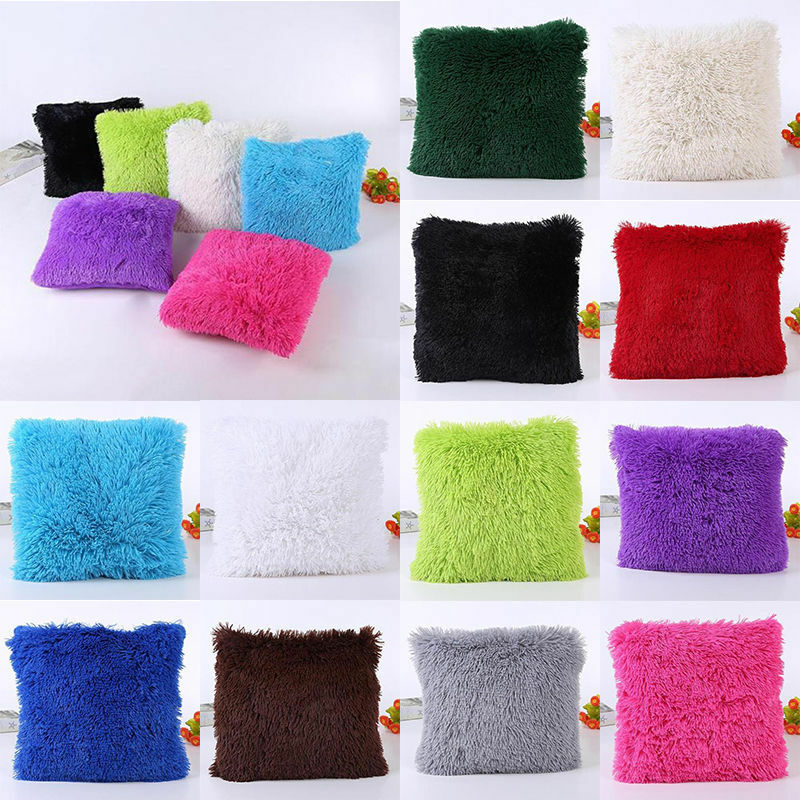 Sofa Pillows Soft: Soft Plush Square Pillow Case Sofa Waist Throw Cushion