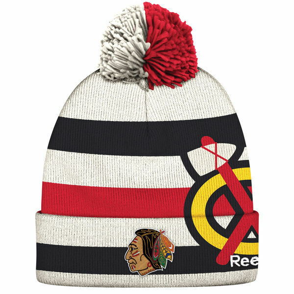 Details about CHICAGO BLACKHAWKS 2017 NHL WINTER CLASSIC REEBOK CUFFED POM  KNIT HAT TOQUE 9006029532d
