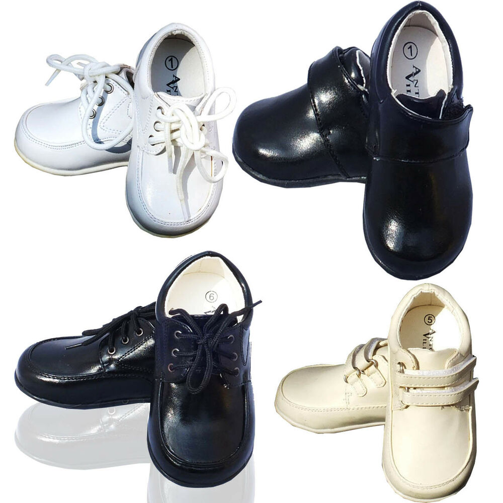 Baby Boys Formal Shoes Toddler White Ivory Black Shoes