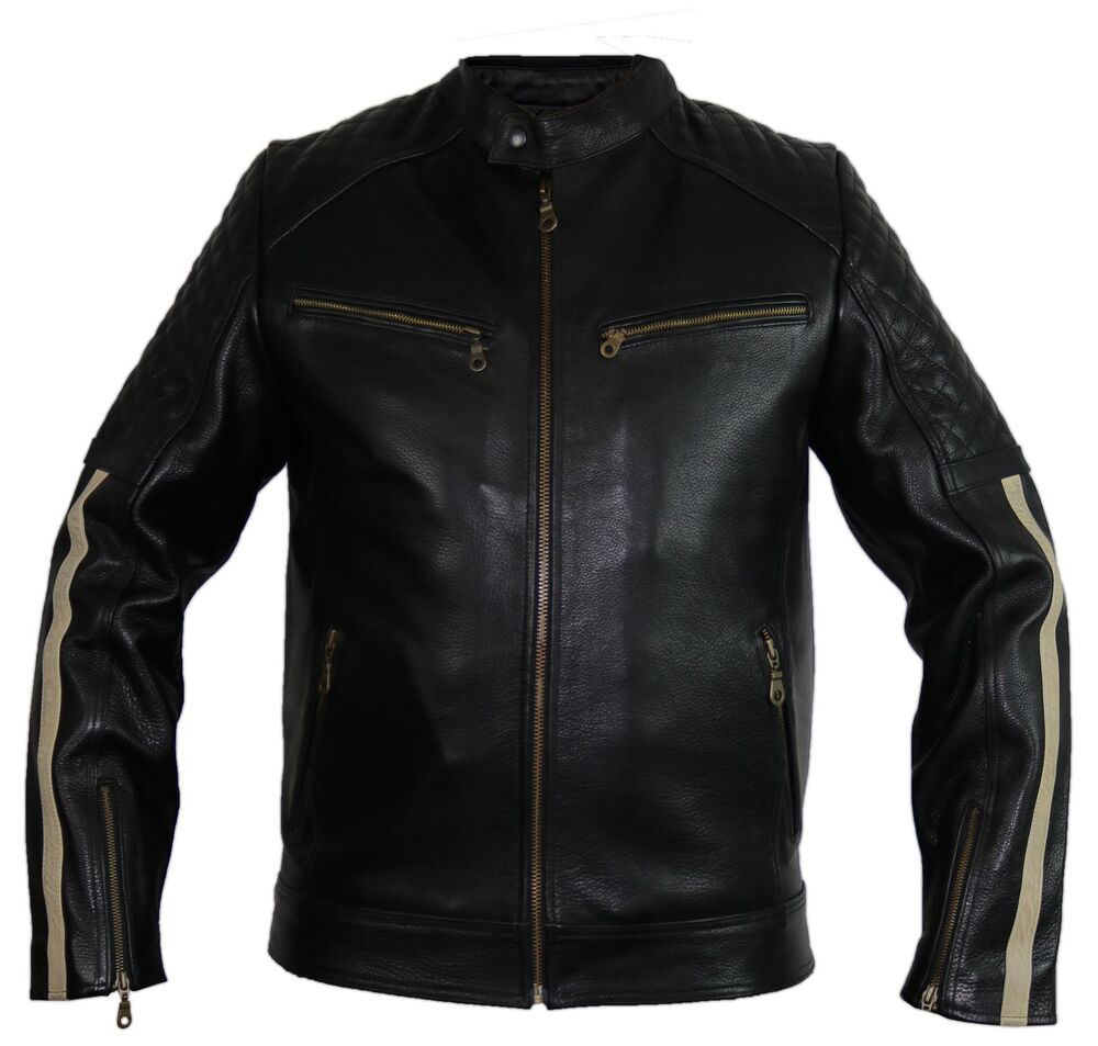 herren motorrad lederjacke mit protektoren streifen gesteppt retro biker jacke ebay. Black Bedroom Furniture Sets. Home Design Ideas