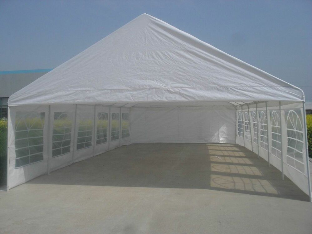 20x40 White Party Tent Fully Enclosed With Windows Top And