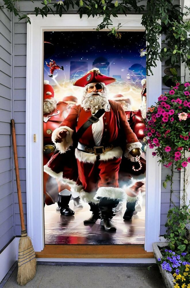 Christmas Front Door Cover Entry Doors 3d Banner Holiday