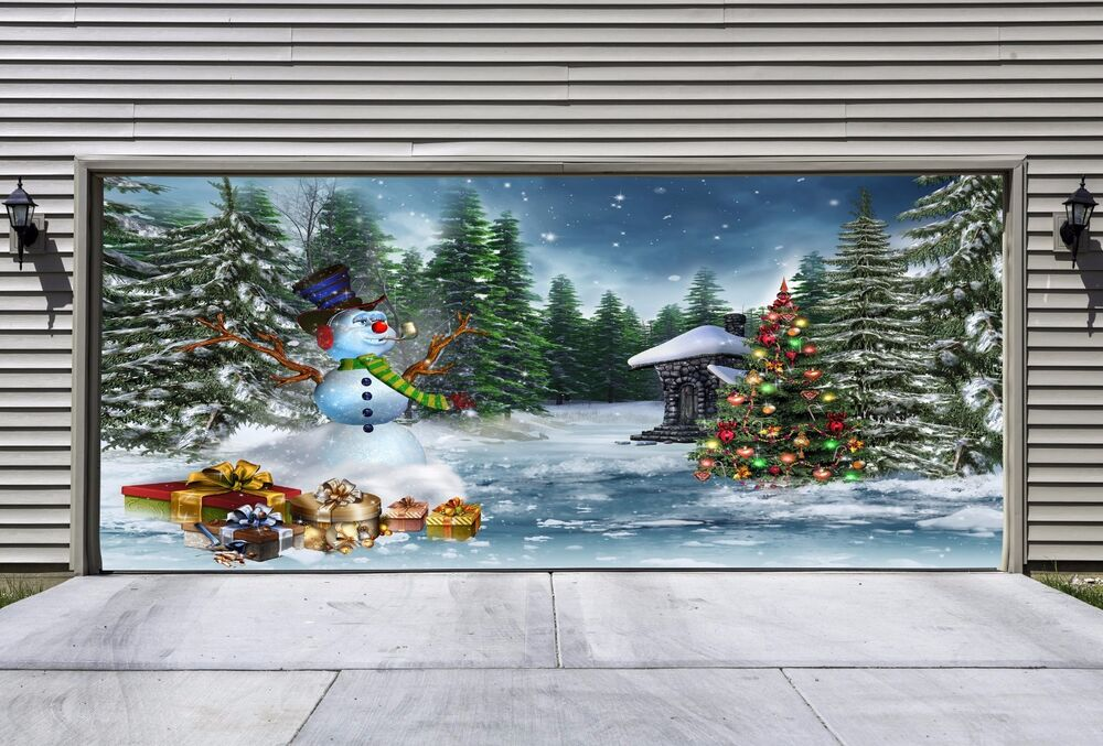 Unique christmas garage door covers 3d effect banners for Outside garage decorations