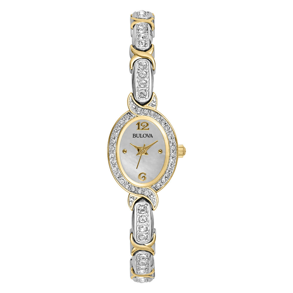 Bulova women 39 s 98l005 silver and gold tone crystal accented watch 42429434349 ebay for Crystal ladies watch