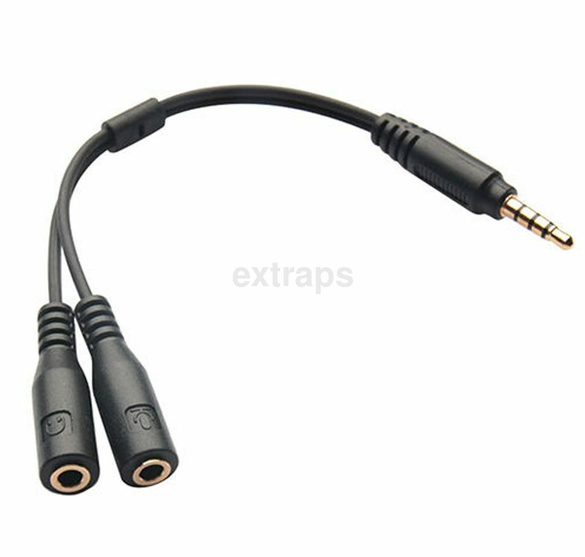 3 5mm Stereo Headphone Audio Male To 2 Female Y Splitter