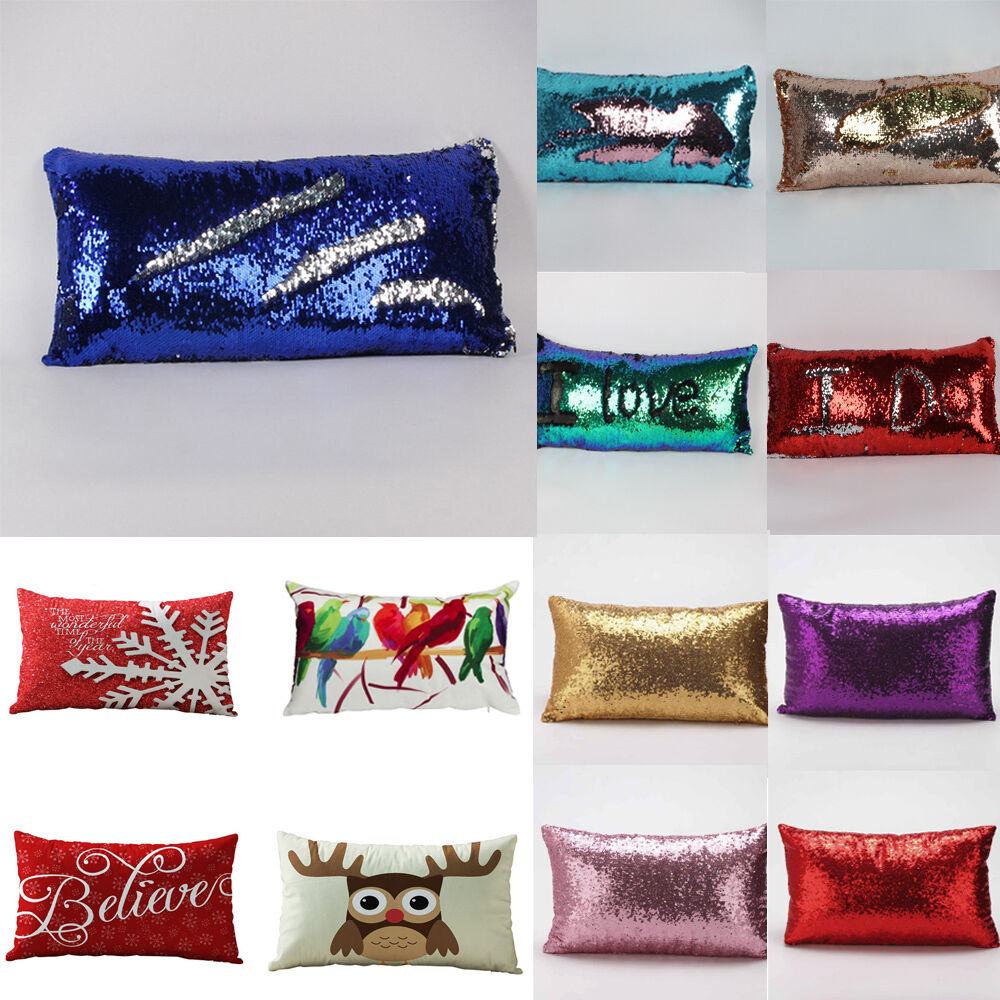 Rectangle sequins sofa bed home decor festival santa for Home decorations on ebay